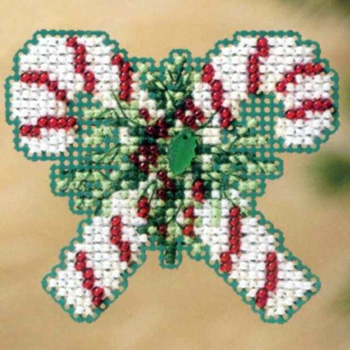 Mill Hill Treasures - Candy Canes Beaded Counted Cross Stitch Christmas Ornament Kit Mill Hill 2011 Winter Holiday MH18-1302