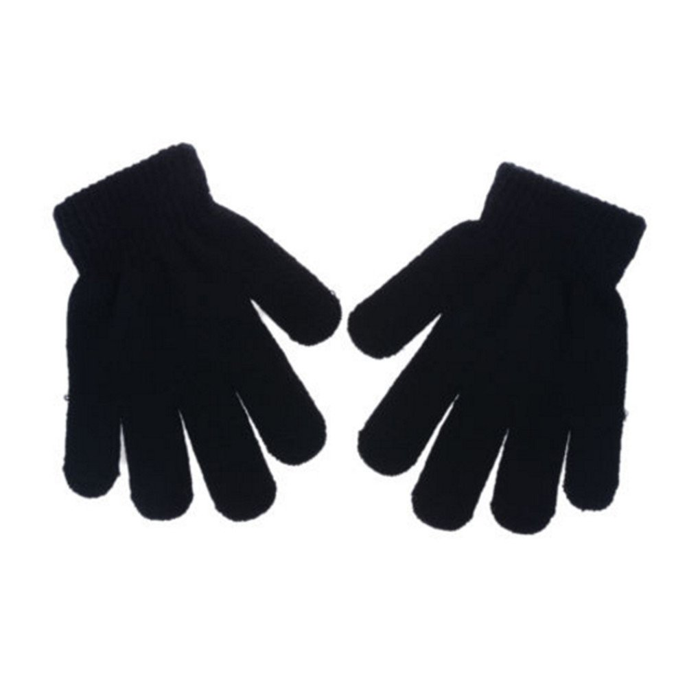 YOUZUO Pupils Winter Cold Warm Gloves Children Monochrome Stretchy Knitted Full Finger Gloves Black