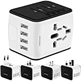 Universal Travel Adapter, International Power Adapter with 4 USB,European Adapter for UK,US,AU,CA,India 150+ Countries,All in One Travel Plug Adapter Europe (White)