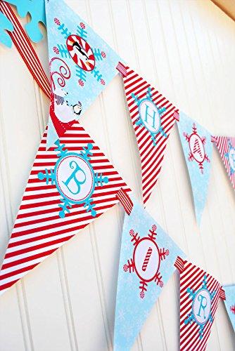 Winter Wonderland Red Happy Birthday Banner Pennant -