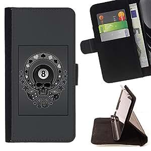 BullDog Case - FOR/LG Nexus 5 D820 D821 / - / GREY EIGHT 8 BALL SKULL CIRCUS POKER /- Monedero de cuero de la PU Llevar cubierta de la caja con el ID Credit Card Slots Flip funda de cuer