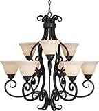 Maxim 12207FIOI Manor 9-Light Chandelier, Oil Rubbed Bronze Finish, Frosted Ivory Glass, MB Incandescent Incandescent Bulb , 60W Max., Dry Safety Rating, Standard Dimmable, Opal Glass Shade Material, Rated Lumens For Sale