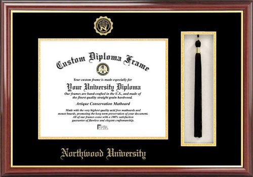 Northwood University-Michigan Timberwolves - Embossed Seal - Tassel Box - Mahogany - Diploma (Northwood University)