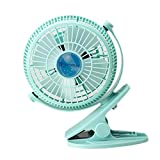 Dopromal 5 Inch Clip-on Fan USB 360 Degree 2 Speed Tilt Adjustable Electric Personal Air-Circulator Clip Fan for Desk/table Blue