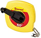 Starrett KTS510-50-N ABS Plastic Yellow Case Closed Reel Steel Long Tape, English Graduation Style, 50' Length, 0.375'' Width, 0.125'' Graduation Interval