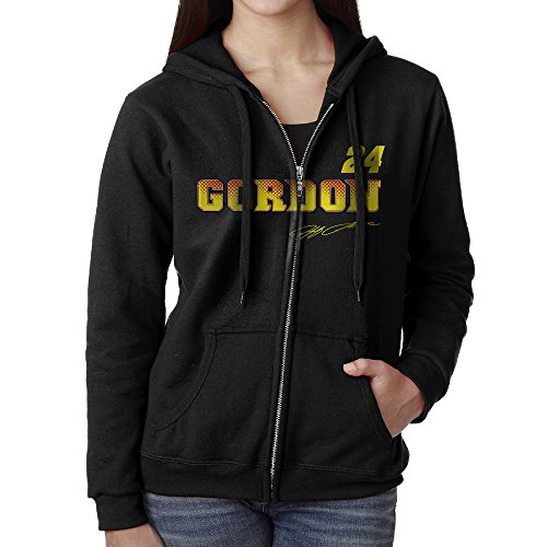 [KOBT Women's Jeff Gordon-nascar Zip-Up Hooded Sweatshirt Jackets Black Size XL] (Jimmie Johnson Costume Nascar)