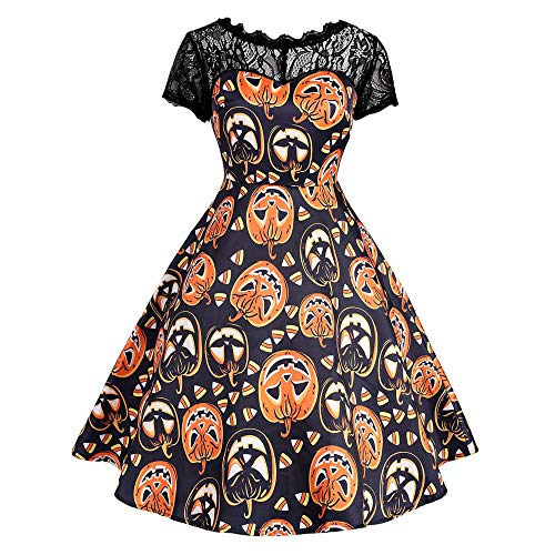 Halloween Vintage Womens KIKOY Lace Short Sleeve Pumpkin Print Party Swing Dress