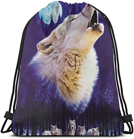 オオカミと月のドローストリングバッグジムダンスバッグハイキングビーチトラベルバッグ36 x 43cm