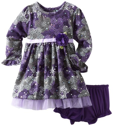 Youngland Baby Girls' Brushed Holofoil Knit Floral Dress