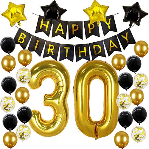 30th Birthday Balloons (30th Birthday Decorations Black and Gold 30 Party Decorations 30th Birthday Banner 30th Number Balloons for 30th Anniversary Party)