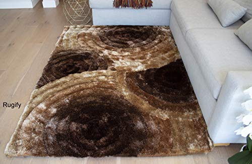(SALE! Dark Brown Light Brown Chocolate Brown Ivory Cream Gold Yellow Tan 8'x10' Shag Shaggy Woven Patterned Flokati Furry Fuzzy Fluffy Modern Contemporary Soft Thick Plush Medium Pile - SAD 419 Brown)