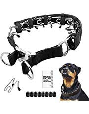 """Prong Dog Training Collar with Protector, 4.0 mm x 23.6"""", Steel Chrome Plated Dog Prong Collar, Pinch Collar for Dogs (XL, Black)"""