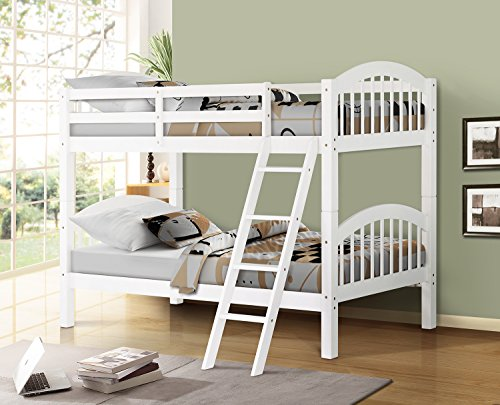 Price comparison product image Harper&Bright Designs Twin-Over-Twin Solid Hardwood Bunk Bed (White)