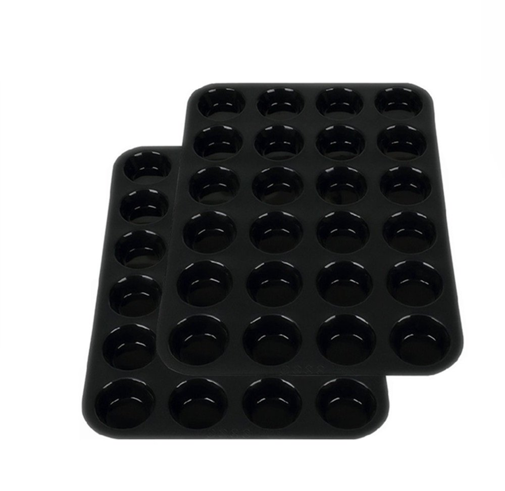 2Packs Silicone Baking Pan, Mini Muffin Cupcake Non Stick Silicone Muffin Tin Molds(Black)