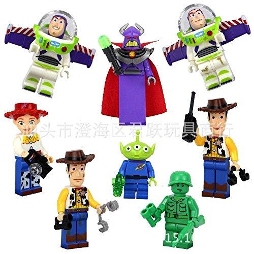 8 Sets Toy Story Figures Blocks Toy Woody Jessie Zurg Alien Buzz Lightyear Gift