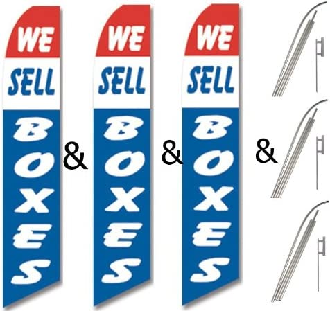 Three 3 Pack Swooper Flags /& Pole Kits Red White Blue WE SELL BOXES