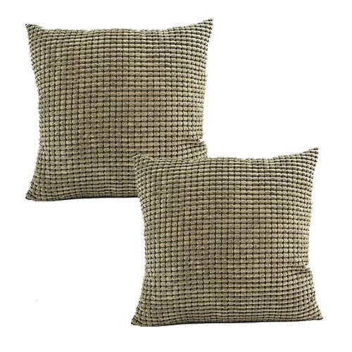 MOCOFO Pack of 2, Corduroy Throw Pillow Cover Decorative Super Soft Summer Solid Soft Sage Green Striped Corduroy Velvet Cushion Cover for Square Olive Green Pillowcases 18X18 Inches