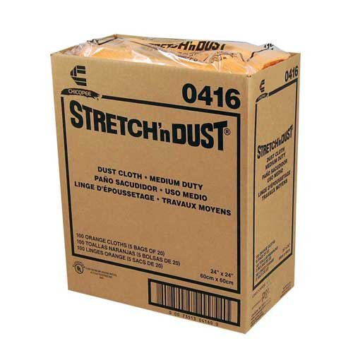Chicopee Wipe, Industrial Cloth Yellowith Orange Stretch N Dust Towel 23.5X24-100 per case.