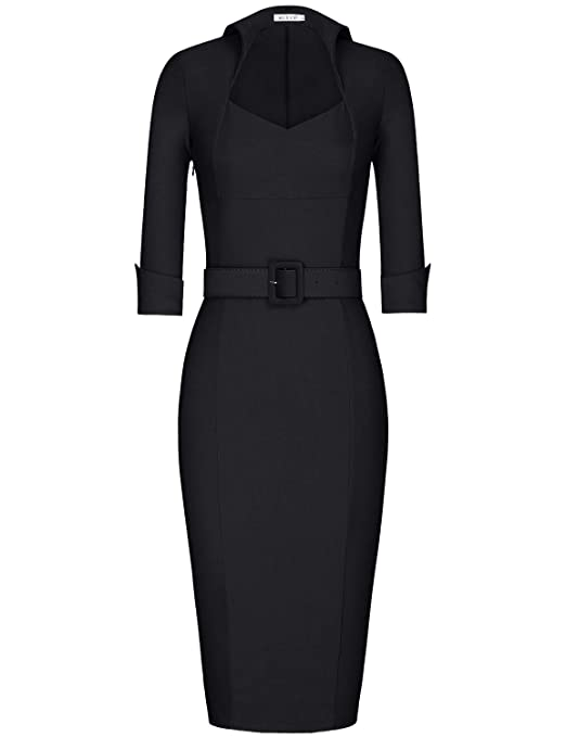 Muxxn Women's 1950s 3/4 Sleeve Elegant Bodycon Lapel Cocktail Pencil Dress by Muxxn