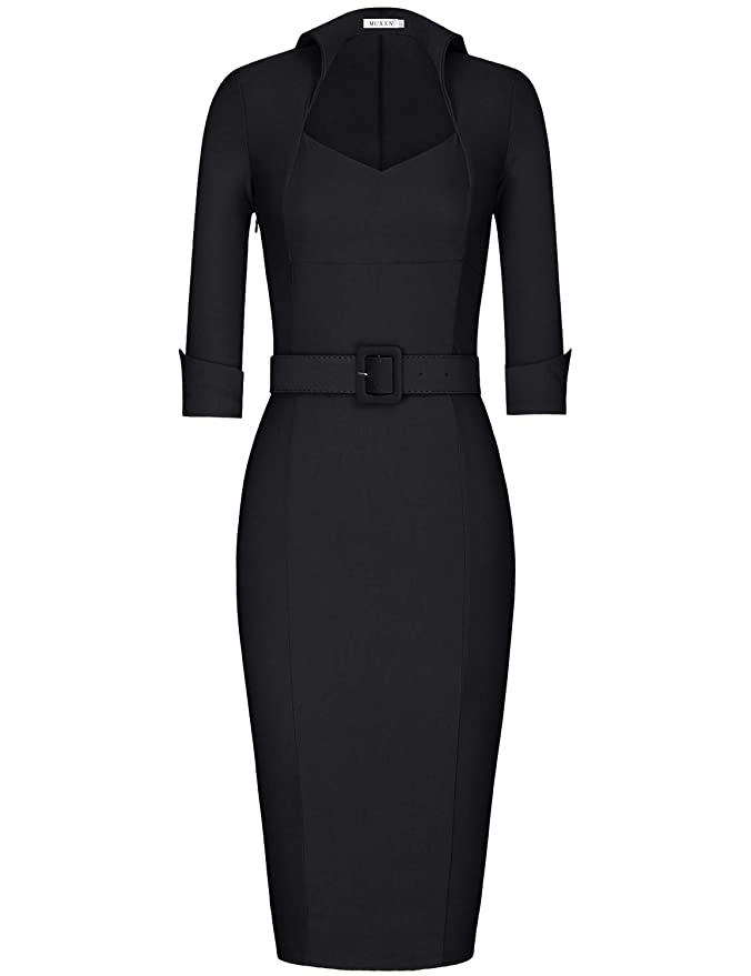 Rockabilly Dresses | Rockabilly Clothing | Viva Las Vegas MUXXN Womens 1950s 3/4 Sleeve Elegant Bodycon Lapel Cocktail Pencil Dress $35.99 AT vintagedancer.com