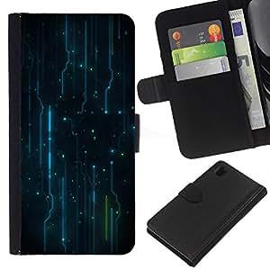 Patrón Electrónica Electro - la tarjeta de Crédito Slots PU Funda de cuero Monedero caso cubierta de piel Para Sony Xperia Z1 L39