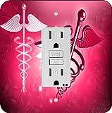 Rikki Knight 8864 Red Medical Doctor Symbol Design Light Switch Plate