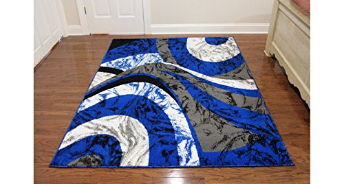 Rug Royal Blue (Royal Trading Eldorado Modern Design Printed Swirls Area Rug, Luxurious, Elegant, and Fashionable Area Rug (5'3