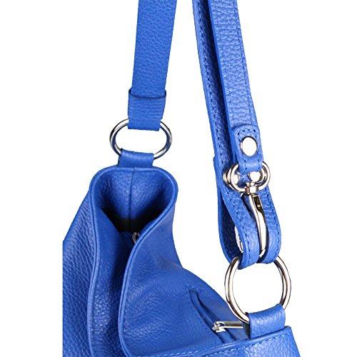 Manici Con Pelle Blu Borsa Vera Metallizzato A Borsetta Donna Shopper Argento bags Hobo Tracolla Reale qSSwRWP4n
