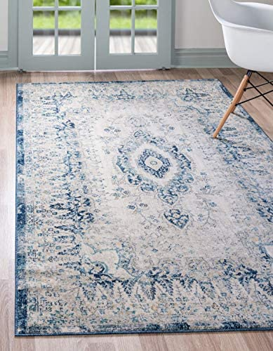 Unique Loom Oslo Collection Distressed Botanical Medallion Beige Area Rug 6 x 9