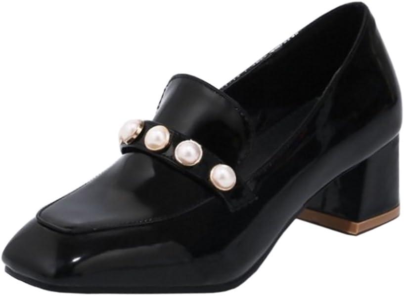 b500f4cd COOLCEPT Mujer Punta Cuadrada Sin Cordones Bombas Zapatos Black Size 32  Asian