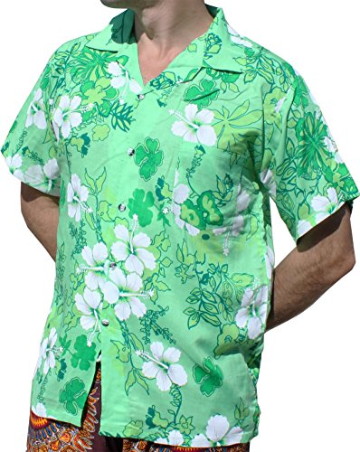 c92c00f23 RaanPahMuang Light Viscose Hawaiian Shirt Hibiscus Flower Mix Mint Green  size L - Buy Online in Oman. | Apparel Products in Oman - See Prices, ...