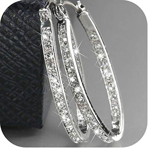 Saengthong Boho 925 Silver Cubic Zirconia Wedding Engagement Hoop Earrings Party Jewelry Color Silver