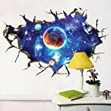"Baishitop New 3D Interstellar Space View Wall Stickers Removable PVC Art Room Decals Murals Home Decoration-23.62""*35.43"" Picture"