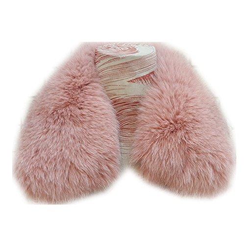 Gegefur Women's Genuine Short Fox Fur Collar Scarf Wrap Shawl Warmer (50cm, pink-4) by Gegefur