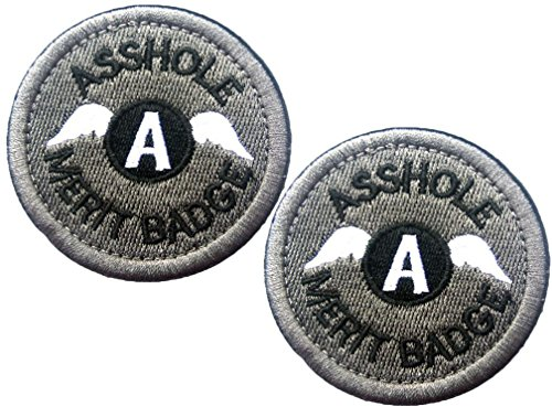 HFDA 2 piece Embroidered Asshole Merit Badge Morale Patches