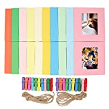 Ablus 20Pcs Paper Photo Frame Set for Fujifilm Instax Mini 7s 8 8+ 9 25 26 50s 70 90 Instant Camera Film (3-inch, Rainbow)
