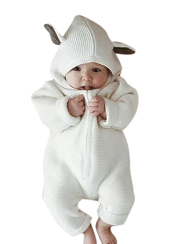 Pagliaccetto con Cappuccio Pagliaccetto Coniglio 3D Ear Baby Abbigliamento Invernale Outfits Cute Animal Cotton Unisex Pagliaccetti 0~18 Mesi