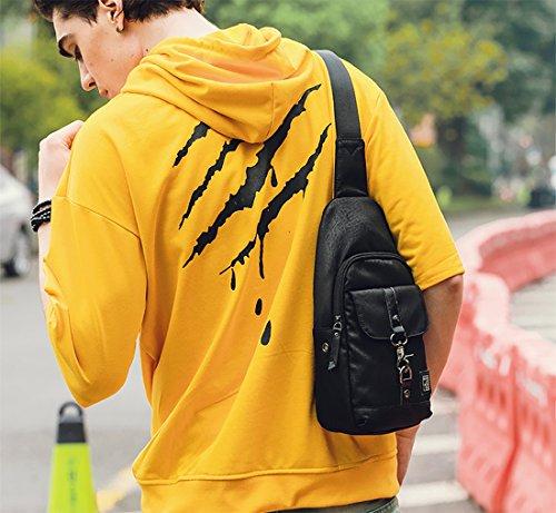 FANDARE Sling Bag Crossbody Bag Bolsas Gimnasio Mochila Ciclismo Excursionismo Bolso Senderismo Deportes Hiking Bag Gym Bolso Bandolera Mochila Hombre Hombro Las Mujeres Poliéster Negro Negro