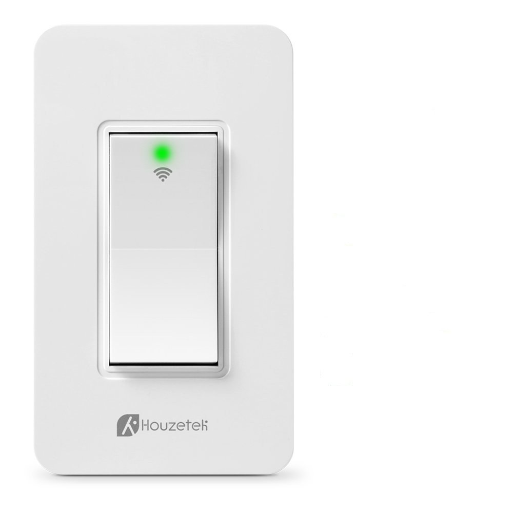 Smart Wall Switch, Houzetek Wireless Wifi Light Switch with Timing Function and Remote Control, Work with Amazon Alexa/Google Home/IFTTT, No Hub Required (PS15SA)