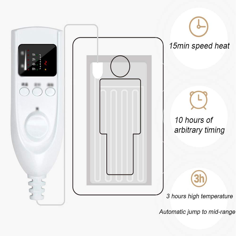0.8m HBHHB Ultra-Douce Couverture /Électrique Chauffant 5 Niveaux De Temp/érature Chaleur De Vitesse 15min Protection Contre La Surchauffe Timing Intelligent Lavable Prise Fran/çaise,Marron,1.6