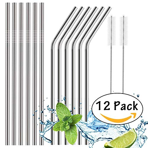 Soundance Set of 12 Stainless Steel Straws Ultra Long 10.5 Inch Reusable Drinking Metal Straws for 20 Oz / 30 Oz Tumblers Rumblers Cold Beverage (6 Straight | 6 Bent | 2 Brushes)