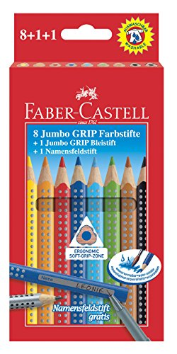 Faber-Castell 280921 Jumbo Grip Buntstifte 8er mit Bleistift und Namensfeldstift