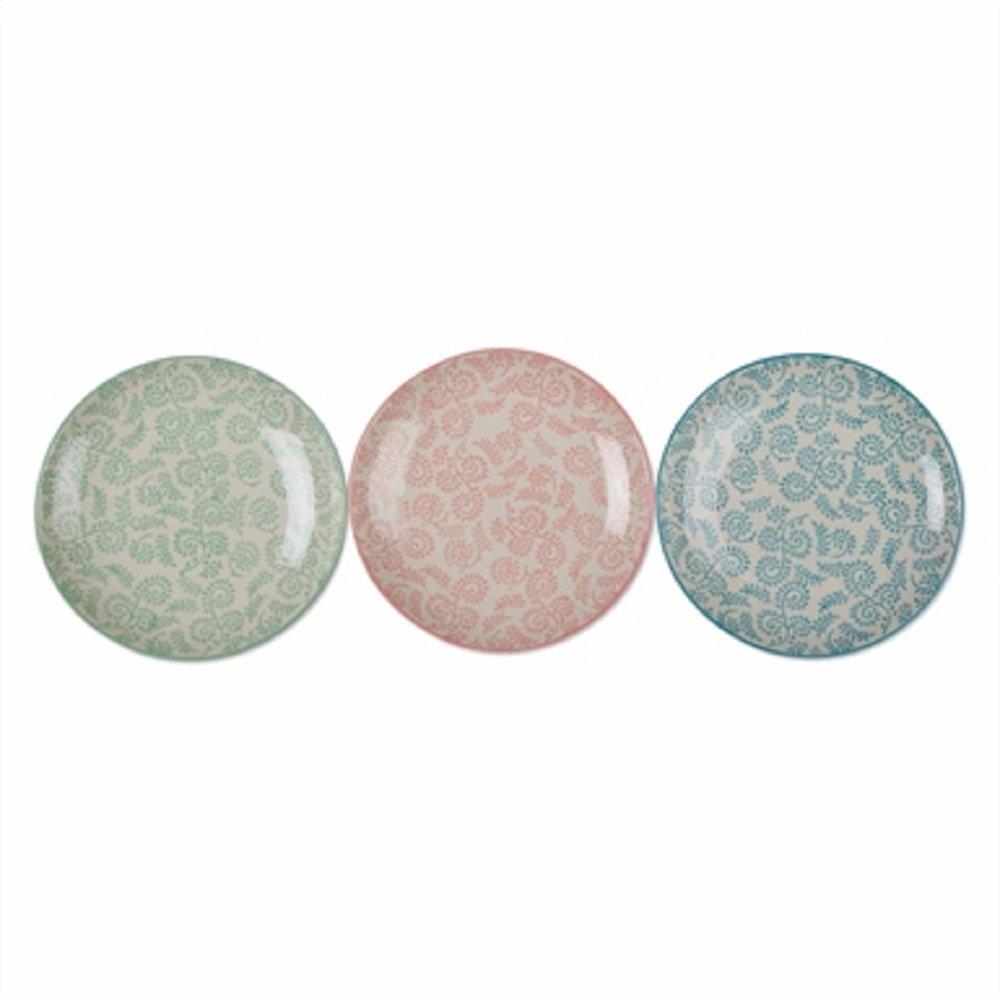 Tag Ramita Plates Stoneware Floral Vine Hand Stamped Snack Pastel Color Set of 3 Dinnerware Plates