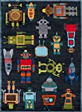 Cheap Momeni Rugs LMOJULMJ-1STB3050 Lil' Mo Whimsy Collection, Kids Themed Hand Carved & Tufted Area Rug, 3′ x 5′, Robots Steel Blue
