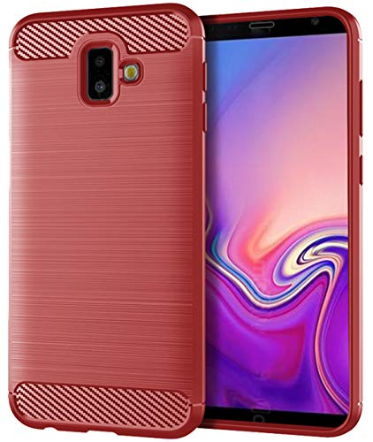 Samsung Galaxy J6 Plus Case,Samsung Galaxy J6 Prime Case,Samsung Galaxy J6+ Case, Sucnakp TPU Shock Absorption Technology Raised Bezels Protective Case Cover Samsung Galaxy J6+ (Red)