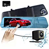 Mirror Dash Cam 5.0 IPS Touch Screen Full HD 1296P Mirror Cam with IP 68 Waterproof Rear View Car Camera Superior Night Mode Advanced Dashcam Parking Mode with 16GB TF Card