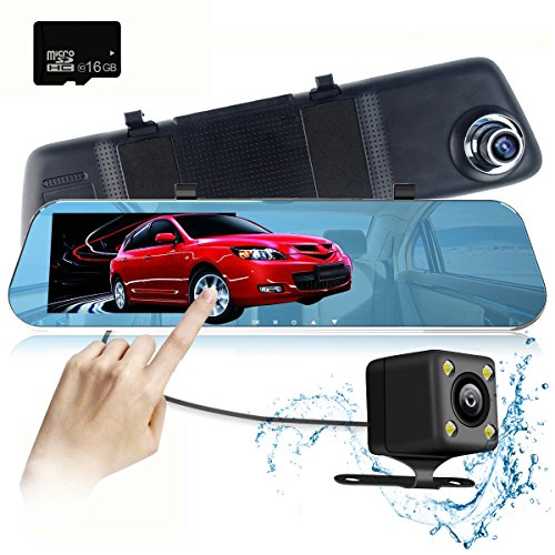 mirror dash cam 5 0 39 39 ips touch screen full hd 1296p mirror cam with ip 68 waterproof rear view. Black Bedroom Furniture Sets. Home Design Ideas