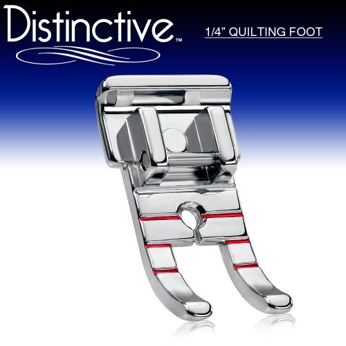 "Distinctive 1-4"" (Quarter Inch) Quilting Sewing Machine Presser Foot - Fits All Low Shank Snap-On Singer, Brother, Babylock, Euro-Pro, Janome, Kenmore, White, Juki, New Home, Simplicity, Elna + More!"