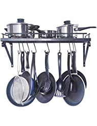 zesproka kitchen wall pot pan rackwith 10 hooksblack
