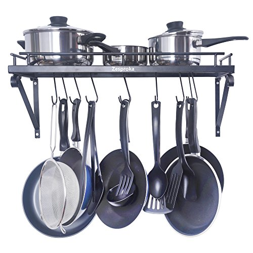 ZESPROKA Kitchen Wall Pot Pan Rack,With 10 (Wall Mount Pan Rack)